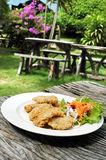 Fish in crispy breadcrumbs with vegetables Stock Photo