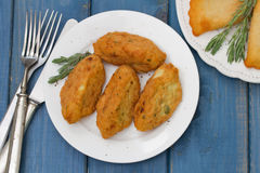 Fish croquettes on plate Stock Image