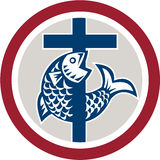 Fish on Cross Circle. Illustration of a fish on a cross representing a Christian religion symbol icon set inside circle on isolated background Royalty Free Stock Photo