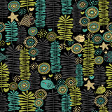 Fish in crown. Seamless floral pattern with fish in crown Stock Photo