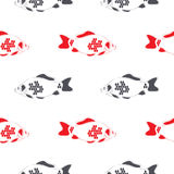 Fish crucian carp seamless pattern, isolated Royalty Free Stock Photos