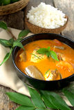 Fish curry in black bowl Royalty Free Stock Photo