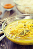 Fish curry and boiled rice in bowls Stock Image