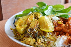 Fish curry with eggplant Stock Photo