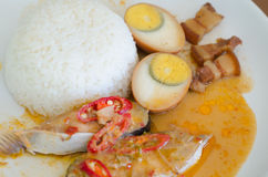 Fish Curry and eggs boiled in the gravy Royalty Free Stock Photos