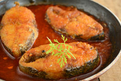 Fish Curry. Indian Fish Curry with Indian bread royalty free stock photos