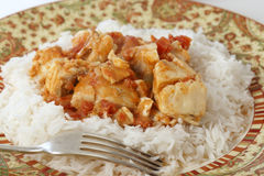 Fish curry meal with fork Stock Photos