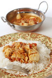 Fish curry meal and kadai bowl vertical Stock Photo