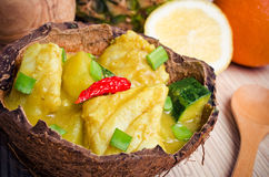 Fish curry with potatoes and zucchini Stock Photography