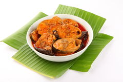 Fish curry with red chilly and herbs. Royalty Free Stock Image