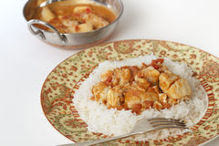 Fish curry and serving bowl horizontal Stock Image