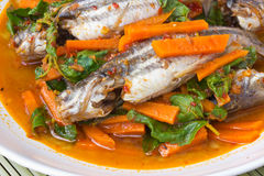 Fish Curry in white dish Stock Photography