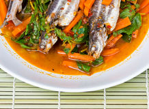 Fish Curry in white dish Royalty Free Stock Photo
