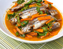 Fish Curry in white dish Royalty Free Stock Image