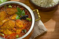 Free Fish Curry With Rice On Wooden Background Royalty Free Stock Images - 214260639