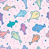 Fish cut breast cancer symbol seamless pattern. This illustration is abstract fish like abnormal awareness breast cancer ribbon symbol can self checking the stock illustration