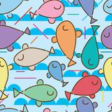 Fish cut sadness seamless pattern. This illustration is abstract fish unknown cut like that, if lost something can take it easy, zen in seamless pattern Royalty Free Stock Photo