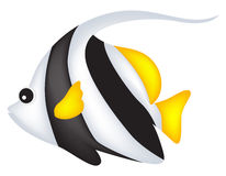 Fish. Cute black and white angel fish clip art isolated on white background Stock Photography