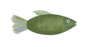 Fish. Cute illustrated green fish Royalty Free Stock Images