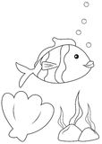 Fish. Cute little fish swimming over seashell and seaweed illustration Stock Photos