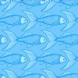 Fish cute seamless pattern. In vintage style Royalty Free Stock Image