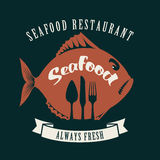 Fish and cutlery. Banner for the store or seafood restaurant with fish and cutlery Stock Image