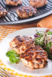 Fish cutlet with a salad of spinach and onion Royalty Free Stock Photo