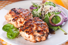 Fish cutlet with a salad of spinach and sauces Royalty Free Stock Photos