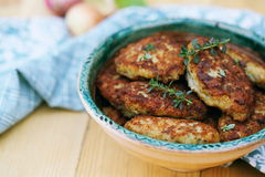 Fish cutlets countrylike in rustic plate, close-up Stock Photography