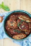 Fish cutlets countrylike in rustic plate, top view Royalty Free Stock Images