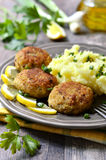 Fish cutlets with dill. Fish cutlets with greens on wooden table Stock Photos