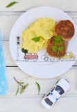 Fish cutlets with mashed potatoes. Royalty Free Stock Image