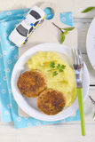 Fish cutlets with mashed potatoes. Stock Images
