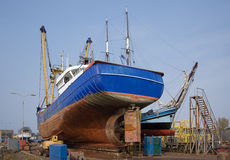 Fish Cutter Repaired At Dutch Shipyard Stock Photos