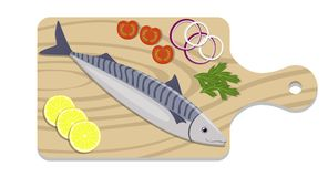 Fish on a cutting board with lemon slices, onion, tomato, parsley herb. Cooking of mackerel. Vector flat illustration. Fish on a cutting board with lemon slices Stock Image