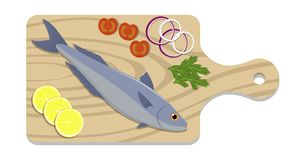 Fish on a cutting board with lemon slices, onion, tomato, parsley herb. Cooking of salmon. Vector flat illustration. Fish on a cutting board with lemon slices Stock Photo
