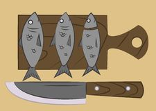 Fish on a cutting board royalty free illustration
