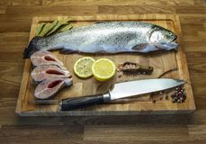 Fish on the cutting board stock photos