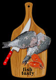 Fish on a cutting board Stock Image