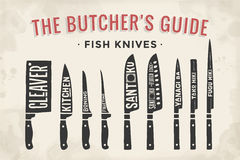 FIsh cutting knives set. Poster Butcher diagram and scheme. Fish Knives. Set of butcher fish knives for butcher shop and design butcher themes. Vintage Stock Photo
