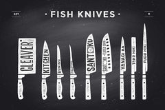 FIsh cutting knives set. Poster Butcher diagram and scheme. Fish cutting knives set. Poster of Butcher diagram and scheme. Set of fish knives for butcher shop Stock Images