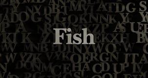 Fish - 3D rendered metallic typeset headline illustration Stock Photos