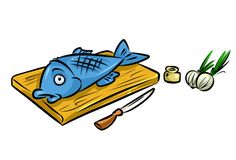 Fish day cooking food cartoon illustration Royalty Free Stock Images