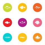 Fish day icons set, flat style. Fish day icons set. Flat set of 9 fish day vector icons for web isolated on white background Stock Photos