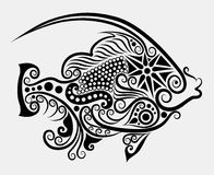 Fish decorative #2. Animal sketch with floral ornament decoration for tattoo design Royalty Free Stock Image