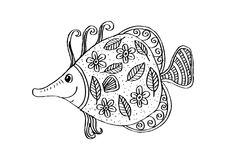 Fish with decorative ornament. For shirt and print Royalty Free Stock Image