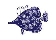 Fish with decorative ornament. For shirt and print Royalty Free Stock Images