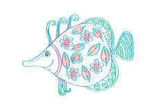 Fish with decorative ornament. For shirt and print Royalty Free Stock Photography