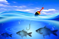 Fish in deep blue water Royalty Free Stock Photos