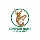 Fish and deer. Green logo is perfect for hunting and fishing company Royalty Free Stock Photo